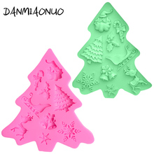 Christmas Silicone Mold Tree Santa Reindeer Mould Soap Cake Fondant Chocolate Decorating Tool A1101