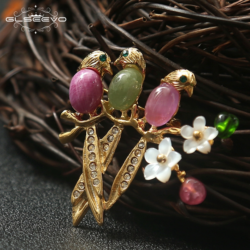 GLSEEVO Natural Tourmaline Birds Brooch Pins Shell Flower Brooches For Women Birthday Gift Dual Use Luxury Fine Jewellery GO0131