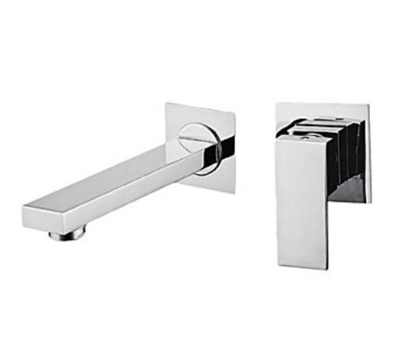 Chrome Finish Wall Mounted Widespread Bathroom Sink Faucet Single Handle Mixer chrome framed wall mounted bathroom make
