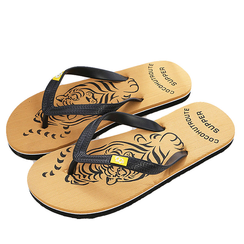New Summer Brand Men Print Flip Flops Eva Animal Prints Tiger Designer Flat Sandals Home Slippers Male Slides Casual Beach Shoe yierfa fashion cork slipper sandals 2017 new summer women patchwork beach slides double buckle flip flops shoe white purple red