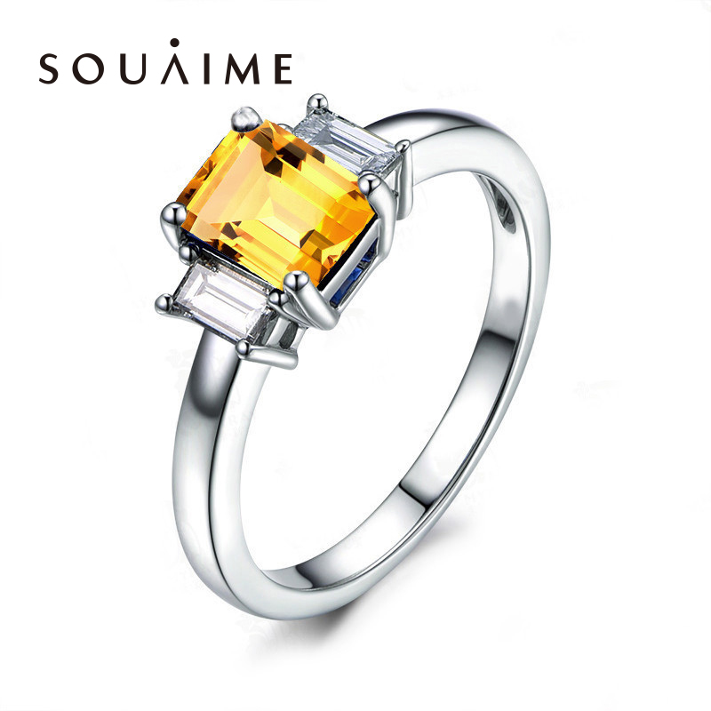 SOUAIME S925 Silver Customized Simple Citrine Female Ring SONA Diamond Ring Wedding Rings For Women мужские часы storm st 47155 bk