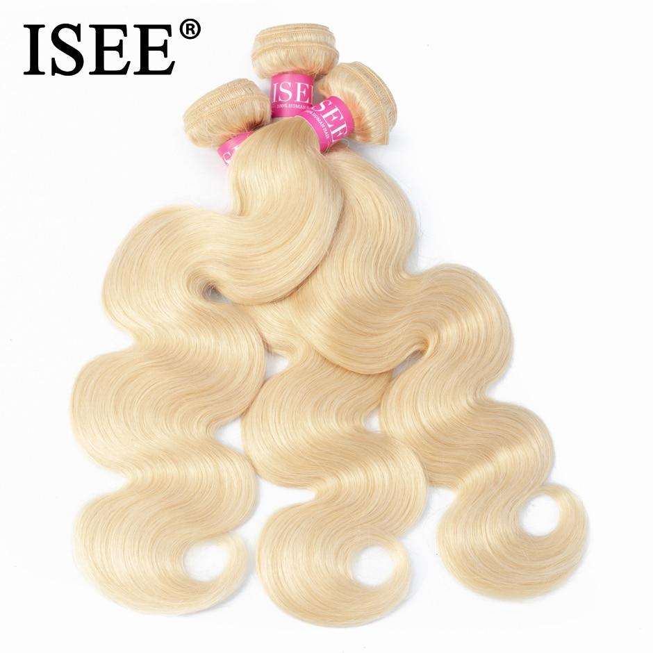 ISEE Brazilian Body Wave 613 Blonde Hair 100 Human Hair Bundles Remy Hair Extension Machine Double