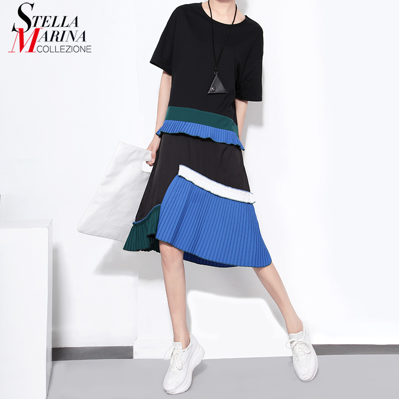 New 2018 Summer Short Sleeves Women Casual Black Midi Dress Ruffles Pleated Boho Hippie Girls Kawaii Sun Dresses Robe Femme 1452