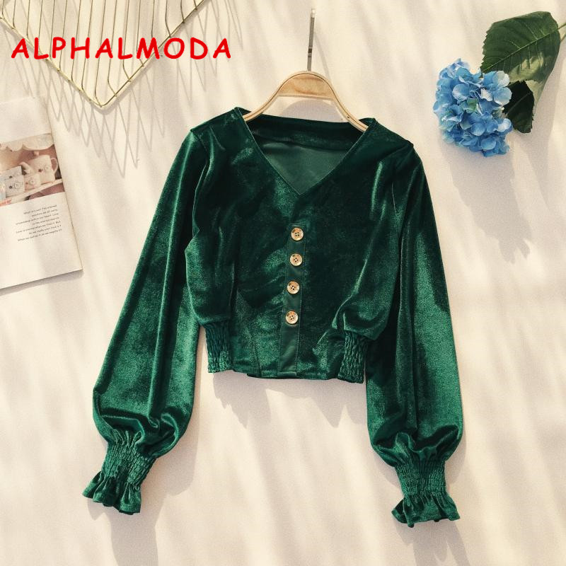 ALPHALMODA Vintage Velvet Blouses Long-sleeved V-neck Single Breasted Stretchy Short Jacke