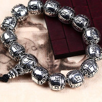 Pure S925 Sterling silver bead bracelet vintage man lucky link bracelet