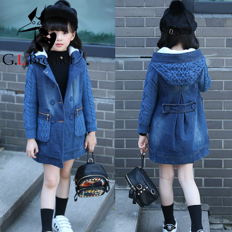 Girls Winter Jackets 2018 Toddler Girl Outwear Warm Long Coats Fleece Children Clothes Kids Girl Denim Jacket Hooded Coat JL09 dark wash long denim coat jacket with hooded