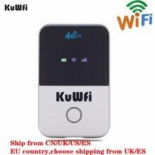 KuWFi 4G Wifi роутер мини LTE беспроводной разблокирован роутер 3g/4G FDD/TDD Портативный Карманный Wi fi маршрутизатор с слотом для sim-карты