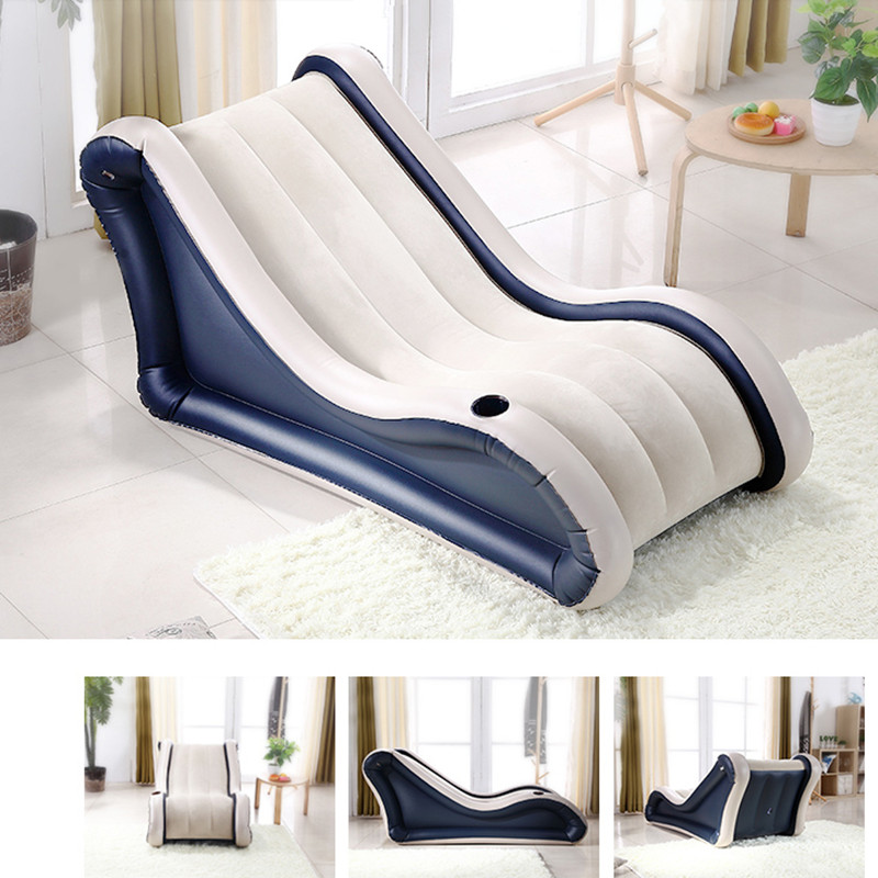 Fashion Flocking Beanbag Sofas Air Bed Inflatable Sofa Lay Bag Living Room Furniture Muebles Free Shipping