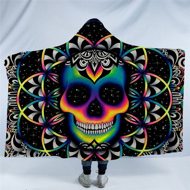 COLORED SKULL HOODED BLANKETS