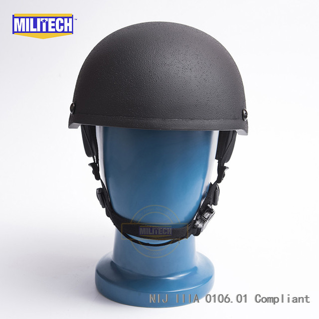 MILITECH Black H Nape Liner NIJ level IIIA 3A High Cut Aramid Ballistic Bulletproof Helmet With 5 Years Warranty And Test Video