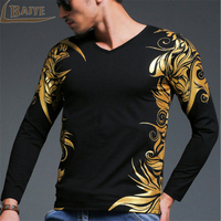 Fashion Vintage Printed T Shirt Men Long Sleeve O Neck Luxury Tops Brand Fitness Cotton T