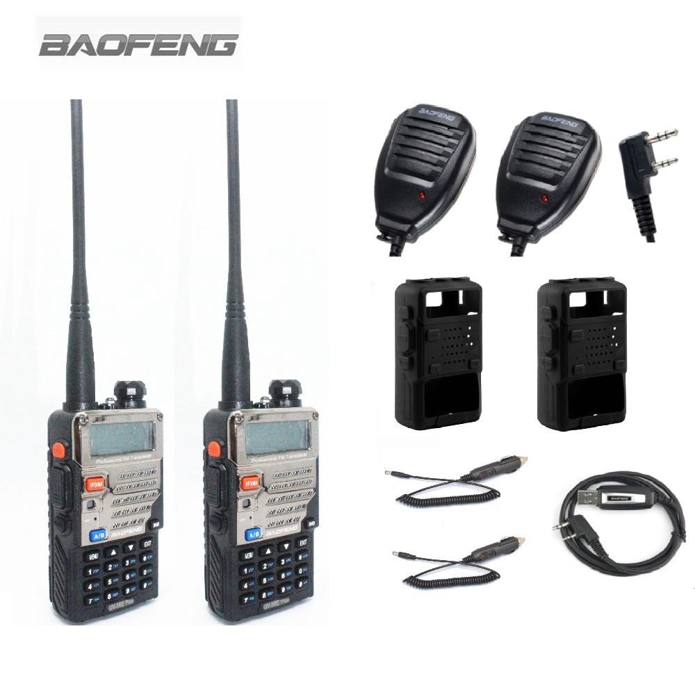 bilder für 2 stücke BaoFeng UV-5RE Plus Walkie Ralkie Radios + 2 stücke Lautsprecher Mikrofon + 1 Programmierkabel + 2 Silikon fall + 2 Autoladekabel