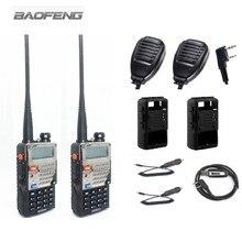 2 шт. Baofeng UV-5RE плюс портативной ralkie радио + 2 шт. Динамик микрофон + 1 кабель для программирования + 2 силикон чехол + 2 автомобиля Зарядное устройство кабель
