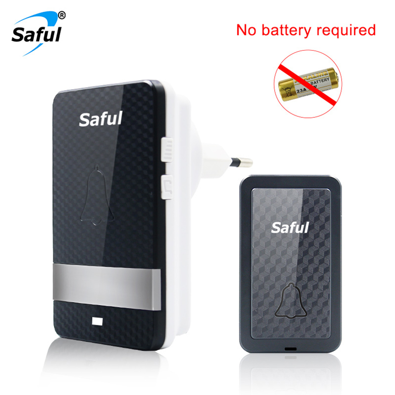 Saful Self-powered Waterproof Wireless Doorbell No Battery 1 Outdoor Push Button +1 Indoor Doorbell Receiver EU/US/UK/AU Plug