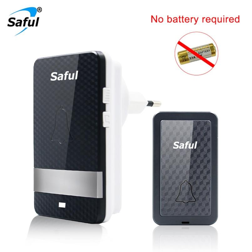 Saful Self-powered Waterproof Wireless Doorbell No Battery 1 Outdoor Push Button +1 Indoor Doorbell Receiver EU/US/UK/AU Plug