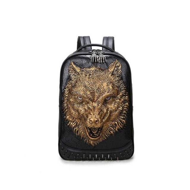 f5469600532f US $41.33 5% OFF|3D Fashion stylish Men's backpacks wolf head backpack  special cool shoulder bags for teenage Boys PU Leather laptop school  bags-in ...