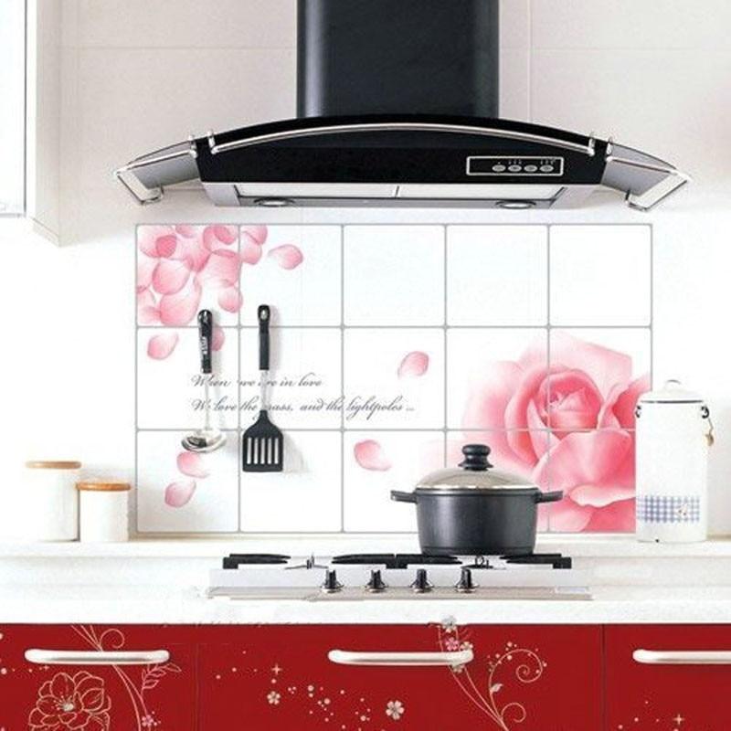 Кухня наклейки водонепроницаемый и доказательство масла наклейка цветочные украшения дом ...