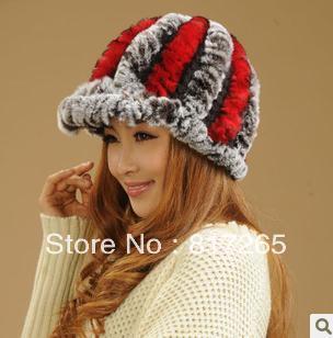free shipping Rabbit hair hat lady winter upset warm cap fashionable woman's hat  100%  fur  R54