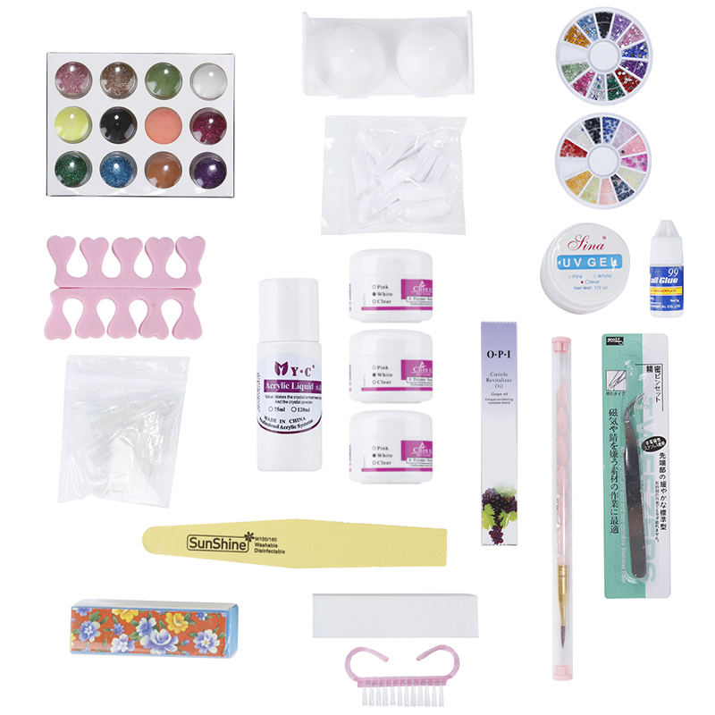 Nail Art Set Acrylic Glitter Powder Primer Pen Nail TIP Brush Glue Kits