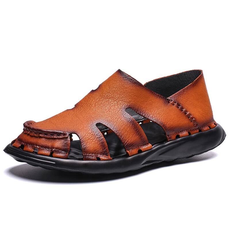Leather Men 39 s Beach Sandals Gladiator Man Outdoor Sandals Shoes Roman Men Casual Shoe Flip Flops Fashion Slippers in Men 39 s Sandals from Shoes