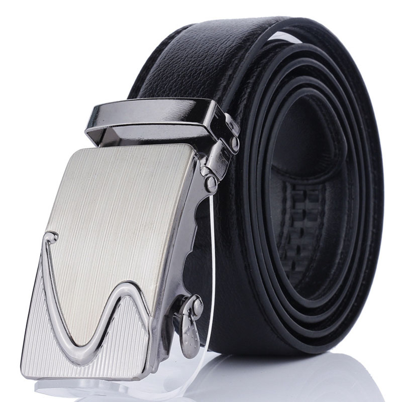 Top Quality PU Leather Automatic Buckle   Belts   for Men Popular Male Brand Black Alloy Buckle   Belts   Luxury