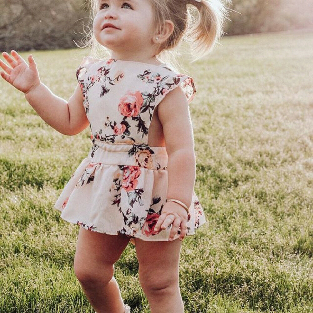 For Toddler Baby Girls Floral Clothes Sleeveless Sling   Romper   Summer Outfit