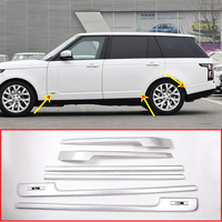 Silver Base and long Wheelbase Side Decoration Strip Trim Replacement Parts For Landrover Range Rover Vogue 14 17 Car Accessory