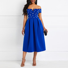 Sexy Party Elegant Ladies Women Midi Dress Blue Plus Size Off Shoulder Beading Pleated A Line Summer Evening Short Sleeve Dress