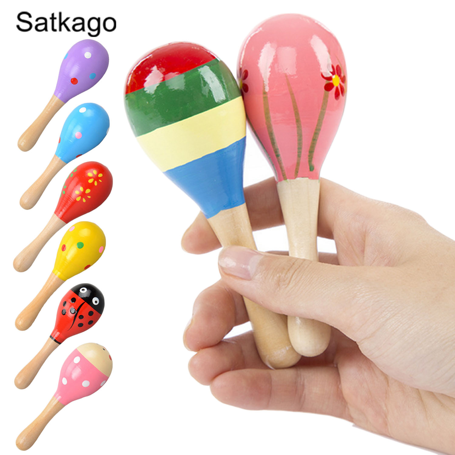 6 PCS Cute Colorful Wooden Sand Hammer Maracas Maraca Rattle Shaker Madera Toy Baby Chil ...