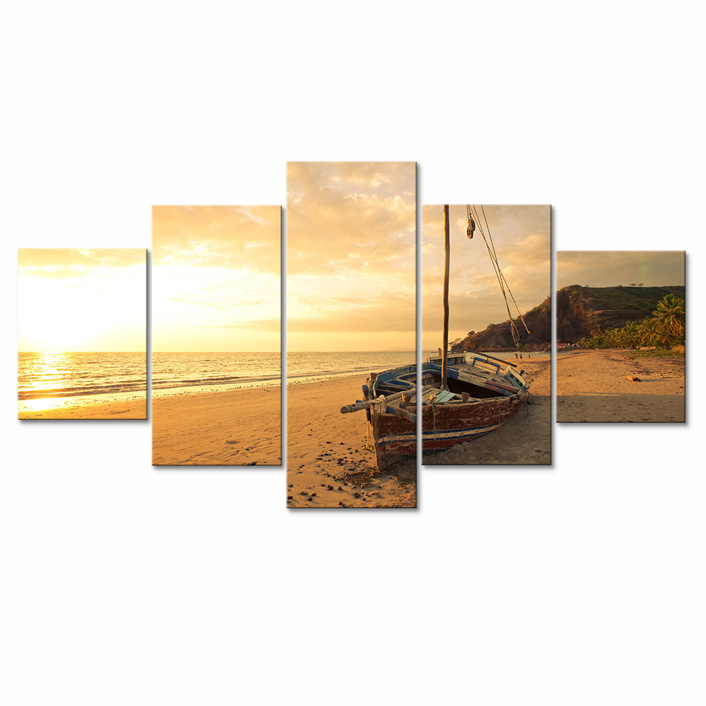 Modular Canvas Painting Beach Wooden Boat Canvas Prints Landscape ...