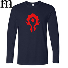 Hot Game WOW ALLIANCE&Horde T Shirts Men Graphic Cotton T-shirts Long Sleeve Round Neck Tshirts Man Autumn Tops