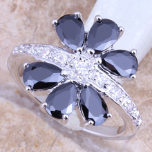 Divine Black Sapphire White Topaz Silver Stamped 925 Ladies's Nice Jewellery Ring Dimension 6 / 7 / eight / 9 Free Reward Bag R1411