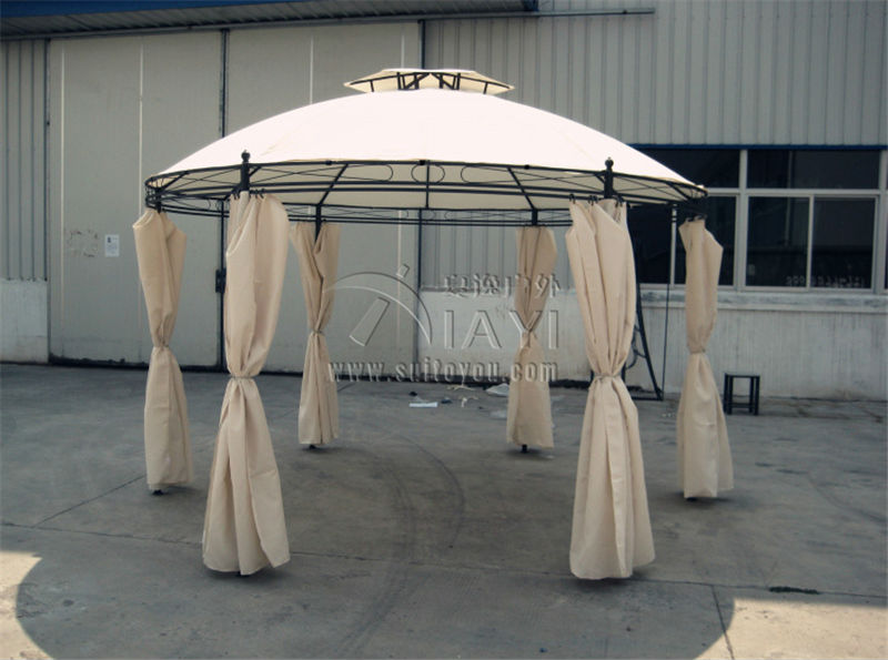 Dia 3.5 Meter Steel Outdoor Gazebo Iron Patio Pavilion Garden Tent Canopy  With Gauze And Sidewalls