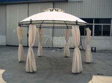 Dia 3.5 meter steel outdoor gazebo iron patio pavilion garden tent canopy with gauze and sidewalls (khaki ,wine red )