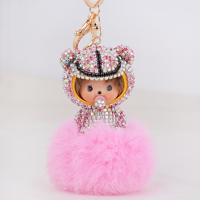 New Design Fur ball pompom keychain crystal Space Baby Monchichi Key Chain Pom pom Women Handbag car charm Pendant