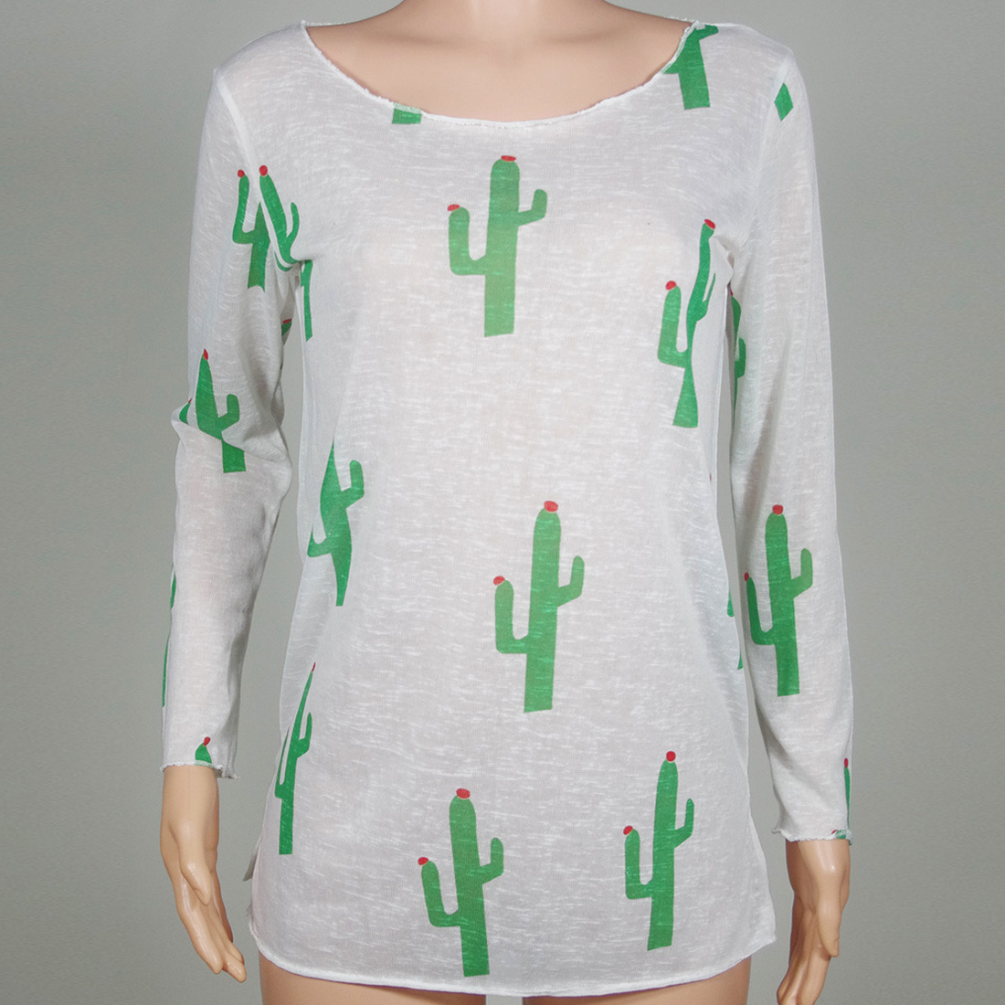 Putih Kaos Wanita Panjang Lengan Rajutan Blusas Gadis Kaktus Sweater Produk Foto
