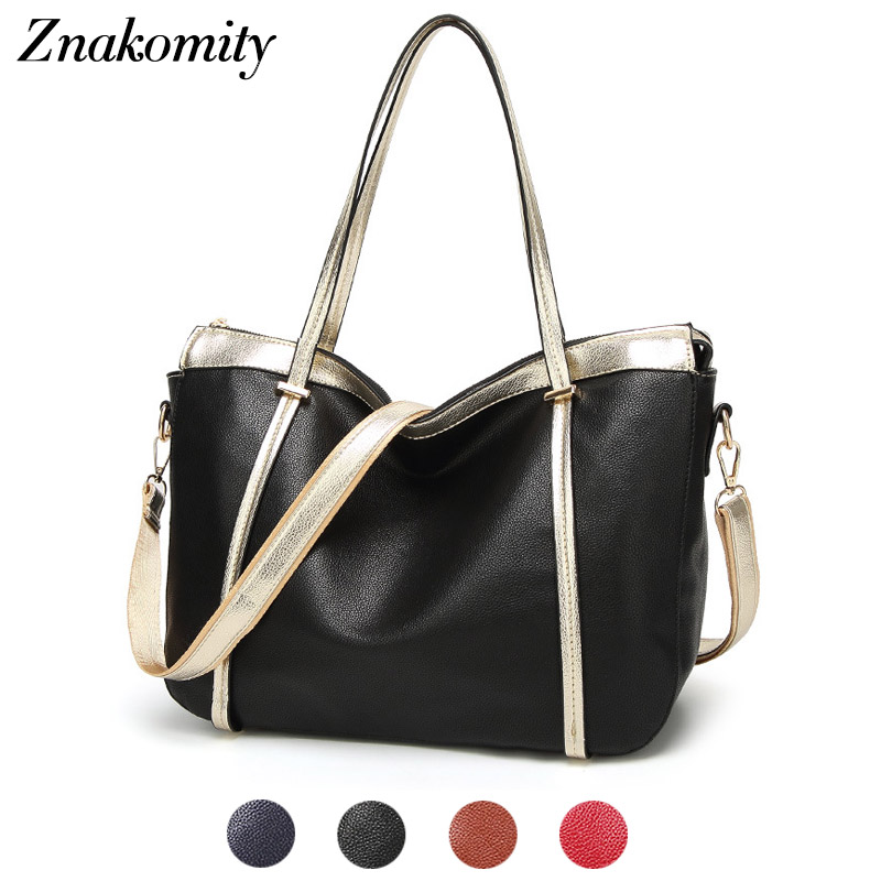Znakomity Big pu leather handbag women shoulder bag female Black gold large casual tote bag Fashion women hand bag woman charm