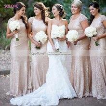 Custom Made Scoop Mermaid Bridesmaid Dress 2016 Cap Sleeve Sequins Beaded Bridesmaid Dress vestido de dama