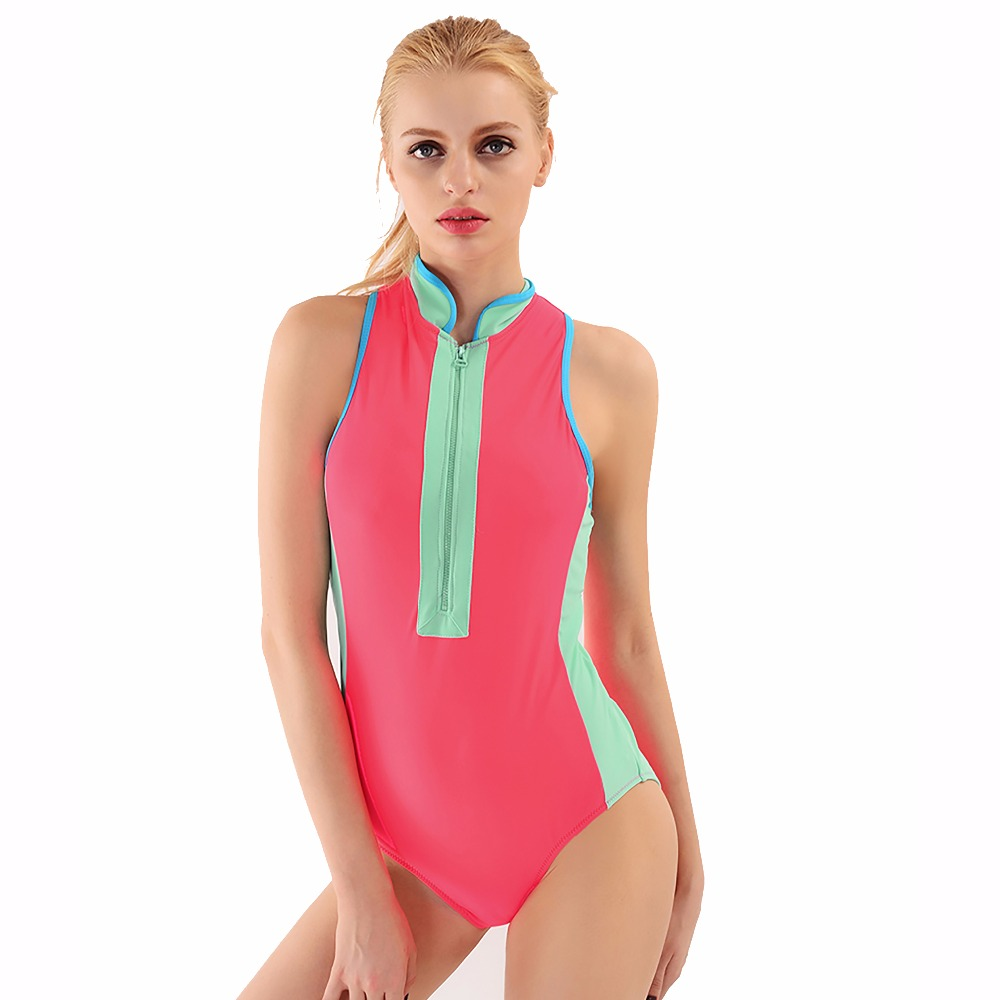 Women Solid One Piece Swimsuit Zipper Front High Neck Swimwear Beachwear Bathing Suit One Pieces Suit free shipping 5 way 2 position 1 4 airtac solenoid valve 4v210 08 dc24v dc12v ac110v ac220v ac380v