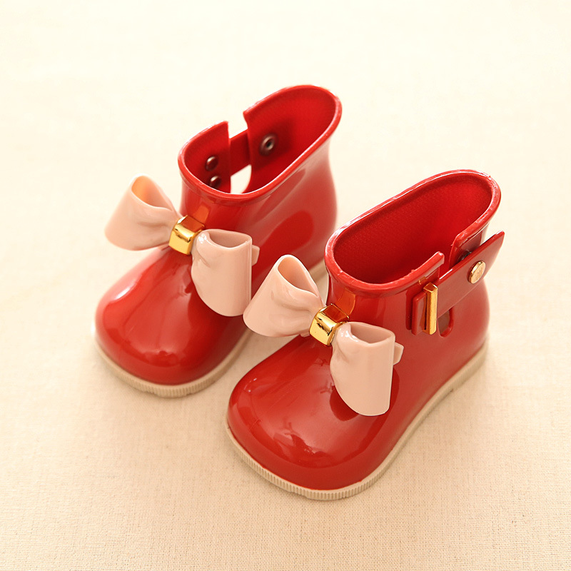 Mini Melissa Rain Boots 2018 New Anti-Skid Jelly Rain Boots Boys Melissa Girls Bow Shoes Jelly Baby Water Shoes