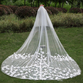 Pretty 3 Meters Appliqued Wedding Veils Graceful Long Two Layer Wedding Veil With Comb Ivory White Elegant Wedding Accessories