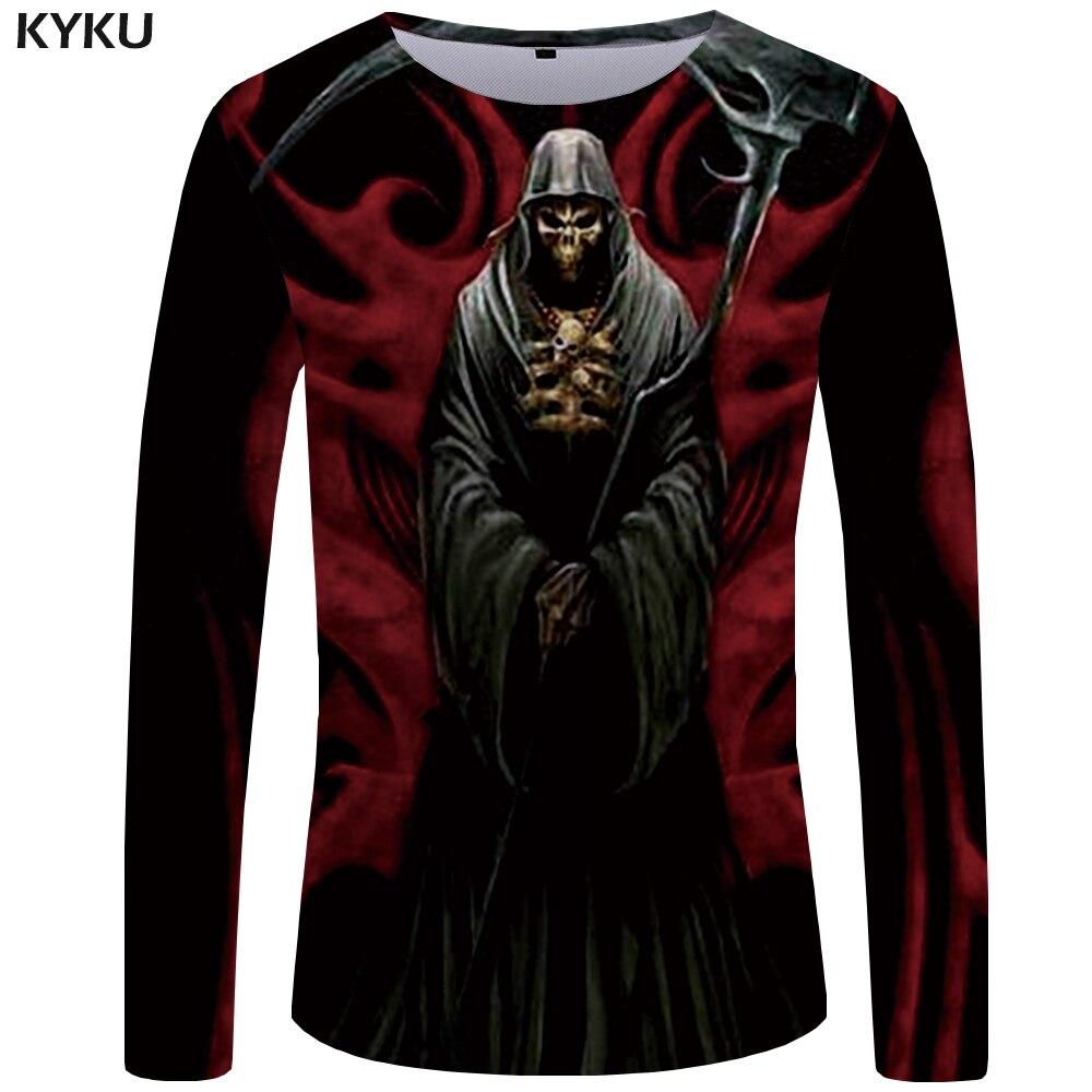 KYKU Skull T Shirt Men Long Sleeve Shirt Black Clothes Devil Funny T Shirts 3D Printed Tshirt Rock Streetwear Mens Clothing