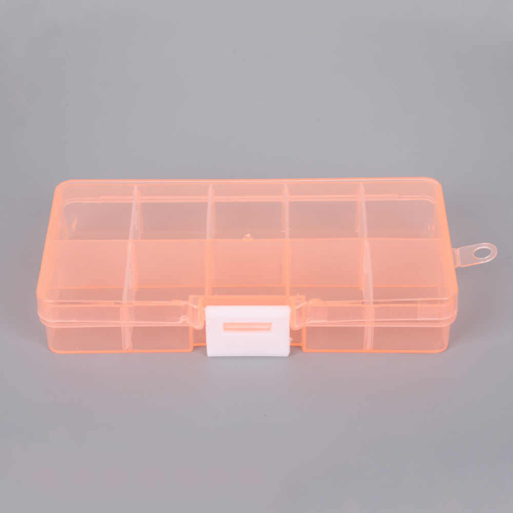 10 ช่องปรับโปร่งใสกล่องเครื่องประดับแหวนต่างหูยาลูกปัดพลาสติกแบบพกพา Organizer กระเป๋าเดินทางถัง