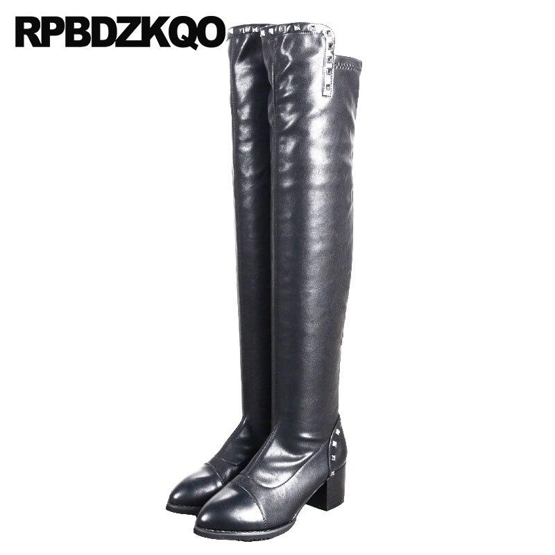 Chunky Talons Boucles Bottes Automne Rivet D'hiver Long Tall Noir Femmes 2018 Chaussures Sur Genou Cuisse Designer Bout Pointu Hauts Le À CsQxtrdh
