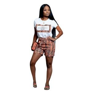 Image 4 - Echoine Vrouwen Slangenprint 2 Stuks Sets Zomer Korte Mouw T shirt Casual Shorts Rood/Oranje Trainingspak Outfits S XXL