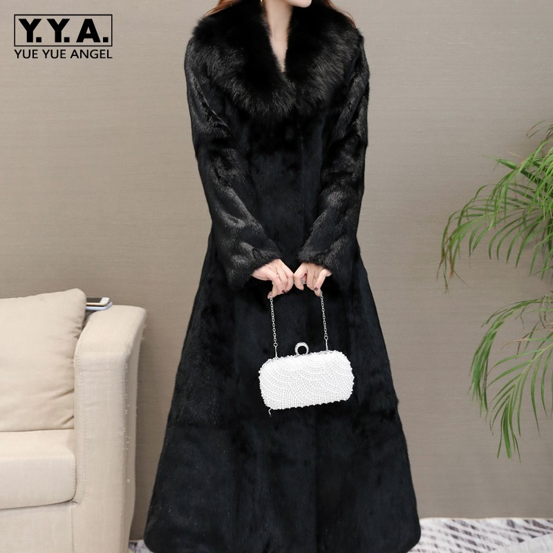 2019 New Women Real Rabbit Fur Long Coat Fox Fur Collar Slim Fit Plus Size 6XL Overcoat Thick Warm Long Outerwear Real Fur Coat image
