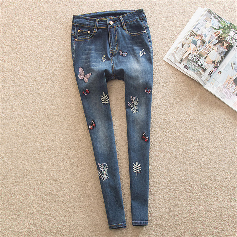 Skinny Jeans Women Butterfly Embroidered Pencil Pants Blue Denim Trousers Women Jeans Fashion 26-40 Plus Size Sexy Jeans MZ1529 thunder star women flower printed skinny jeans femme plus size female 2017 ladies blue denim pencil pants casual brand fashion