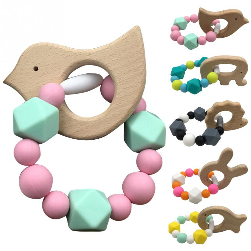 Wooden Baby Teething Bracelet Animal Shaped Jewelry Organic Wood Silicone Beads Baby Rattle Stroller Accessories Toys #20