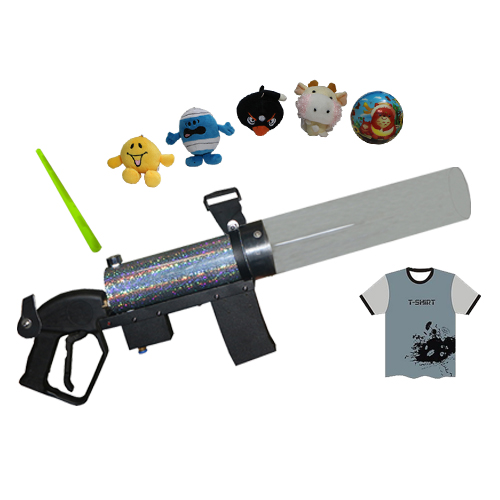 Gigertop Co2 T-shirt Cannon with Plastic Pipe Long Distance Gift Jet Trigger Micro Mini T Shirt Launcher Gas Store Tank