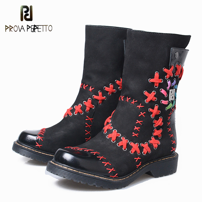 Prova Perfetto 2018 New Fashion Cross Embroider Mid-Calf Boots Lace-Up Decoration Rivets Low Heels Handmade Suede Women Boots fashion women s mid calf boots with tassel and cross straps design